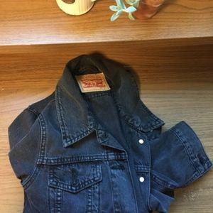 Levi's Grey/Black Denim Trucker Jacket -  Small
